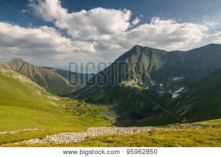 Wonderful Valley In Summer Mountains With Lakes