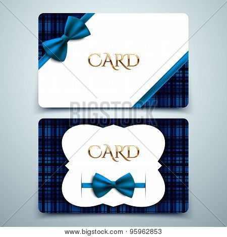 Vector Gift Cards, Blue Tartan Print And Decorative Bow