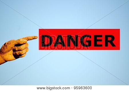 Finger With Rectangular Red Label Danger
