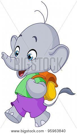 Cute school elephant walking with a backpack
