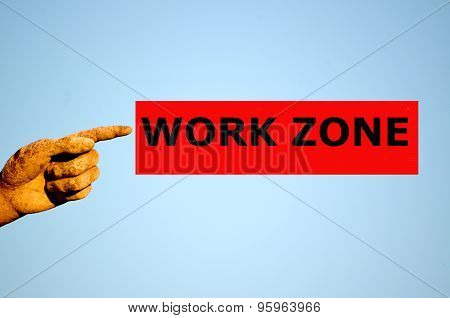 Finger With Rectangular Red Label Work Zone