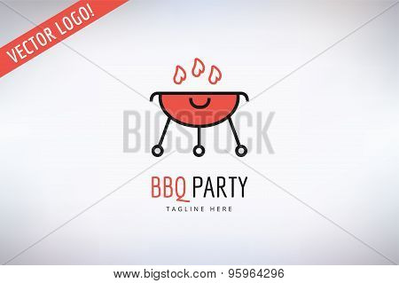 BBQ and Food Vector Logo. Outdoor, Kitchen or Meat symbol. Stock design element.