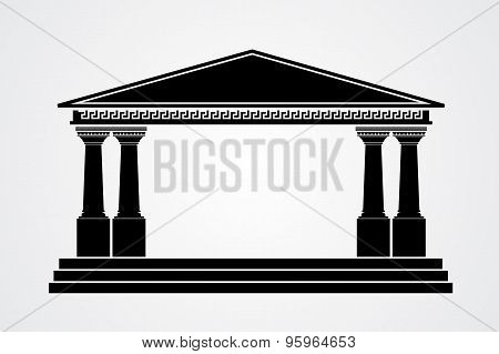 Greek parthenon silhouette isolated on white background