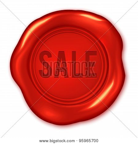 Sale Text On Vector Red Wax Seal Isolated On White