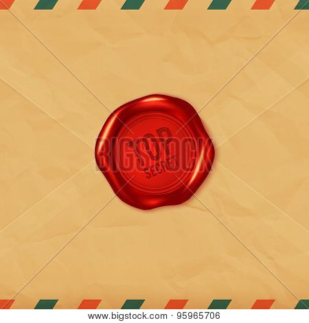 Top Secret Red Vector Wax Seal On Old Envelope