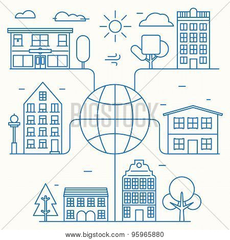Vector Concept Of Linear Houses Of World. Infographic City Connection