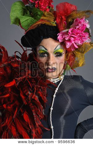 Drag Queen With Flowers