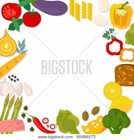Flat design healthy eating vector concept.