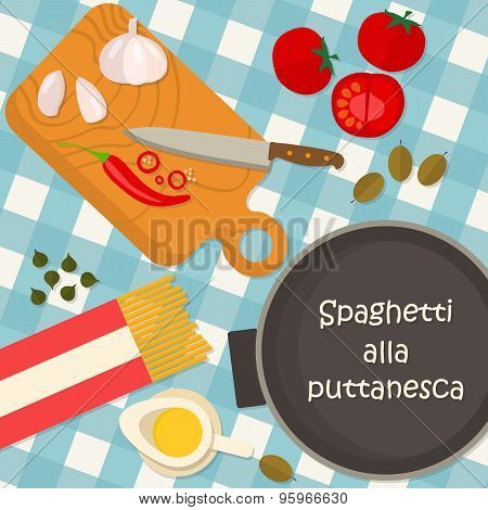 Flat design square banner of Italian traditional cuisine