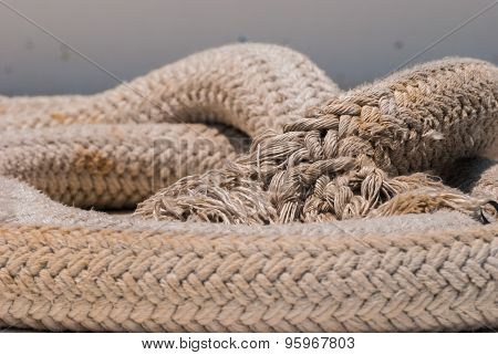 Old Nautical Rope Close-up