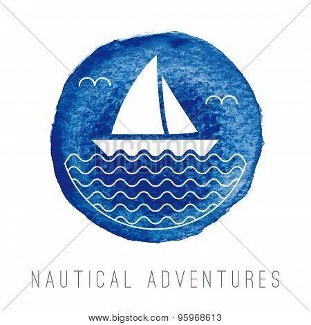 Watercolor Nautical Logo With A Sailboat