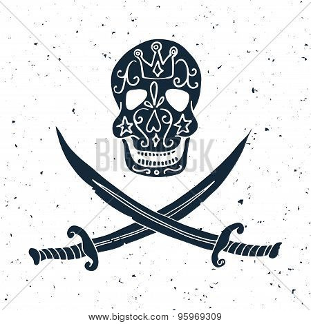 Jolly Roger. Hand Drawn Illustration Of Skull With Swords.
