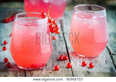 Two Glasses Of Homemade Red Currant Lemonade