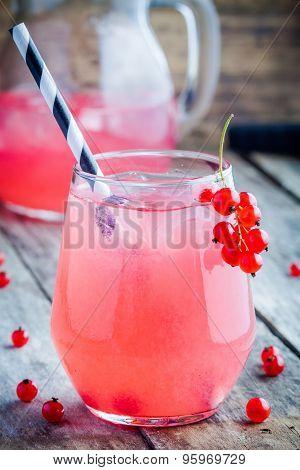 Glass Of Homemade Red Currant Lemonade