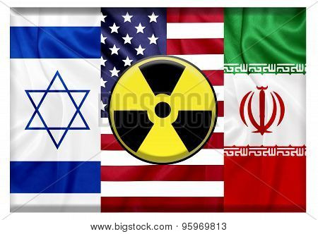 Flags of United states Israel and Iran with nuclear icon