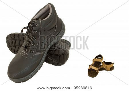 Brown Safety Shoes And Slippers Isolated On White