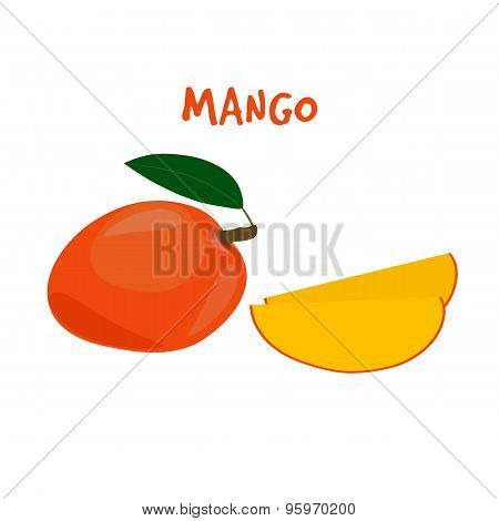 Ripe Yummy Mango  on a White Background.
