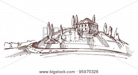 Hand Drawn Illustration Of An Italian House On Hill