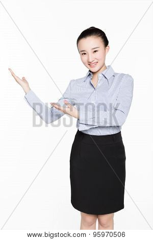 Business Woman Gesturing Showing