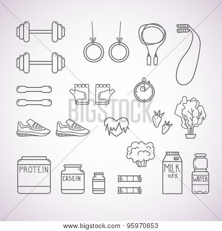 Hand-drawn Vector Illustration - Fitness And Health Icons. Isolated On White Background