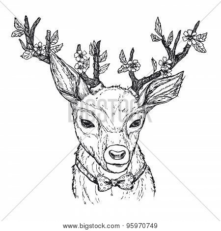Hand-drawn Vector Illustration. Hipster Deer With Red Bow And Horns With Flowers. Vintage. Isolated