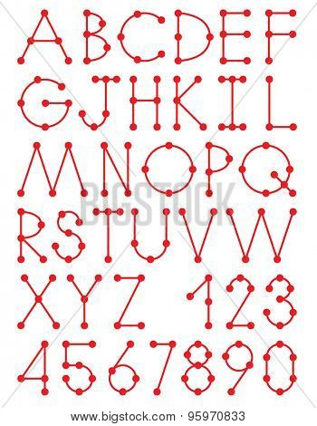 Simple dotted alphabet. Thin lines and dots letters and numbers