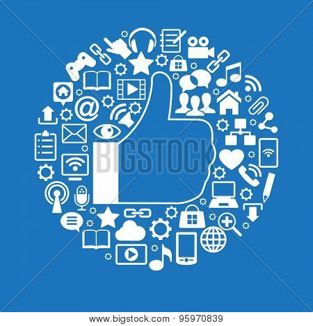 Like an icon surrounded Social media icons. White icons on blue background