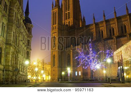 Marktkirche In Wiesbaden At Dusk