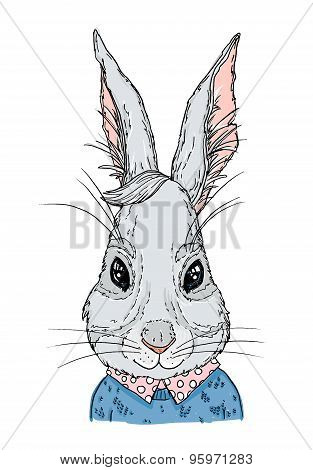 Hand-drawn Vector Illustration. Hipster Bunny In Knitted Sweater. Vintage. Isolated On White Backgro