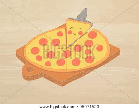 Hand-drawn Vector Illustration - Pizza Pepperoni On The Chalkboard. Comic Characters.