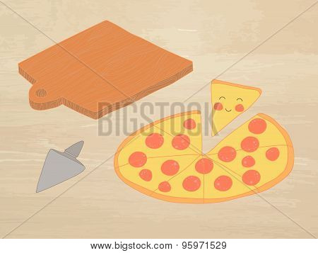 Hand-drawn Vector Illustration - Pizza Pepperoni And Chalkboard. Comic Characters.