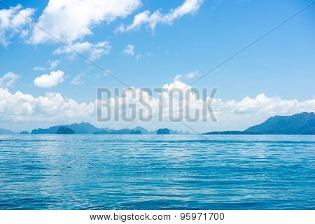 Beautiful Blue Tropical Ocean Landscape And Clouds With Islands, Phuket, Thailand