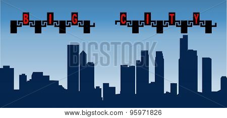 Vector illustration silhouette big city with high buildings