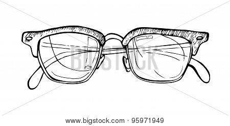 Hand Drawn Vector Illustration - Sunglasses. Line Art