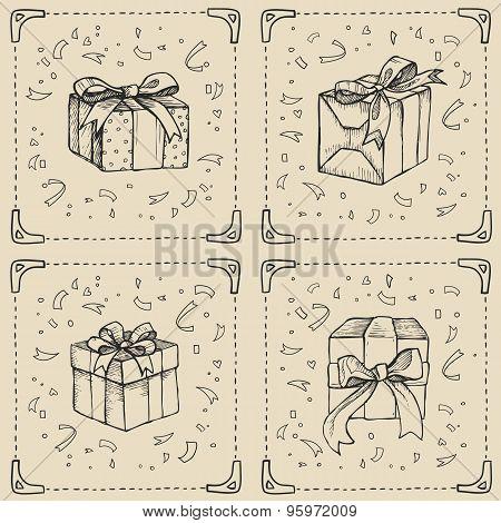 Hand Drawn Illustration - Magic Gift Boxes.huge Set