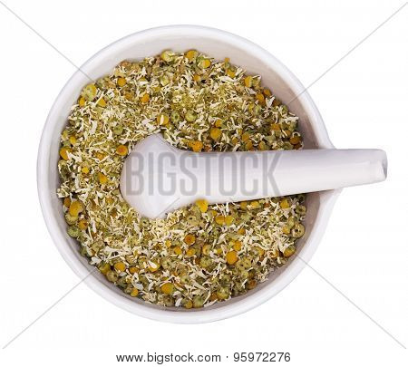 mortar and pestle with dry herbs isolated on white background, vector