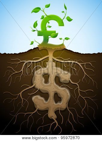 Growing Pound Sign As Plant With Leaves And Dollar As Root