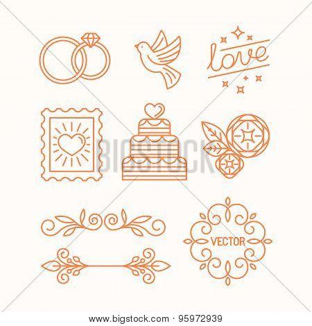 Vector Linear Design Elements For Wedding Invitations