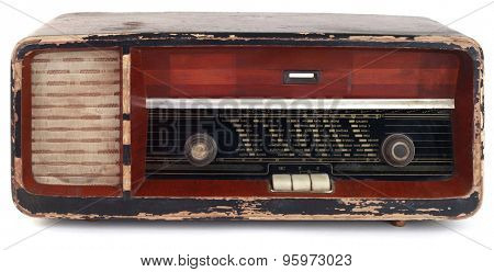 Vintage Radio Tuner Isolated on White Background