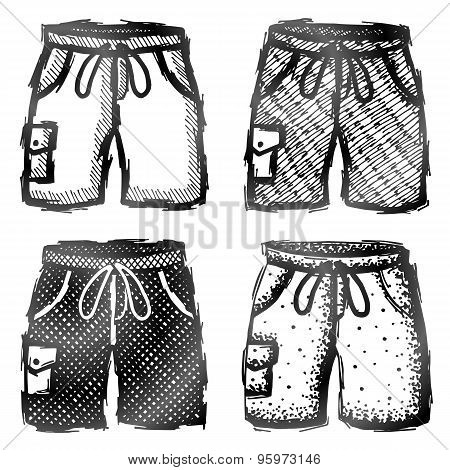 Hand Drawn Shorts With Pocket