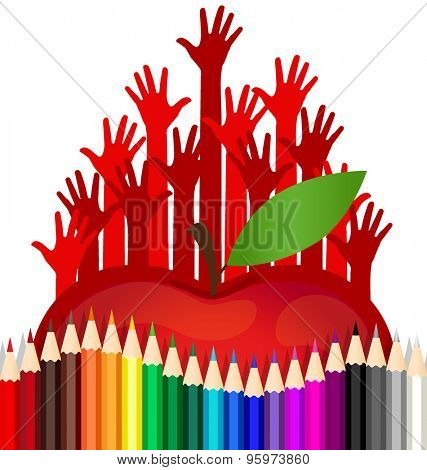 Welcome back to school with Hand, Apple and Color pencils background, vector illustration.