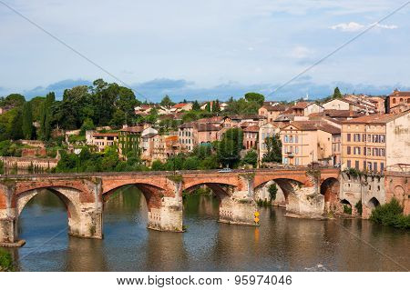View Of The August Bridge In Albi, France