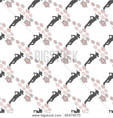 Seamless Diagonal Floral Pattern With Woman Silhouette