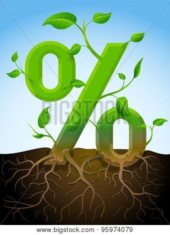 Growing Percentage Symbol As Plant With Leaves And Roots