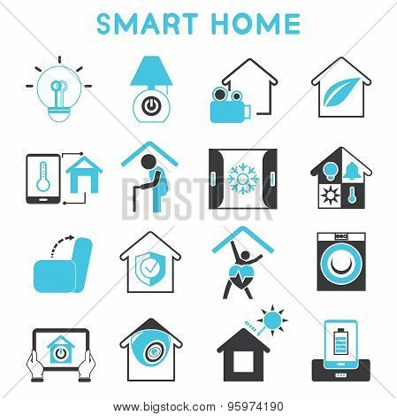 smart home icons vector photo bigstock. Black Bedroom Furniture Sets. Home Design Ideas