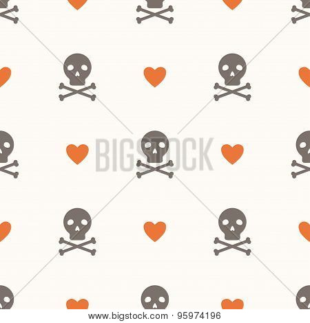 Seamless Pattern With Skulls And Hearts