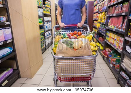 Woman pushing trolley in aisle at supermarket