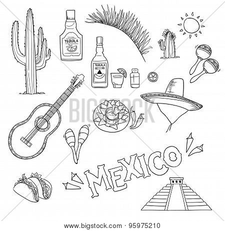 Hand-drawn Vector Illustration - Mexico. Mexico Icons.