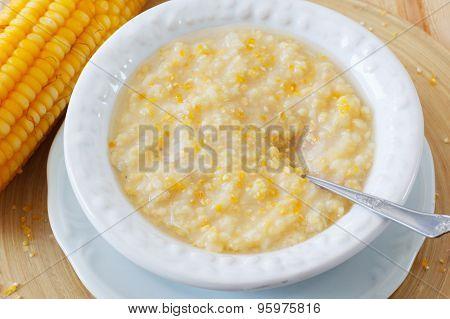 Corn Porridge  In White Plate