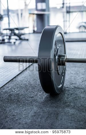 Close up view of barbell in crossfit gym
